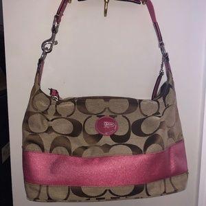 Coach Brown and Hot Pink Handbag
